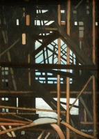 Under the Pier XII, 2012 (19x14.5cm) - painting by artist Gill Levin (ID376)