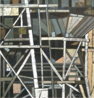 Cranes, Battersea Power Station VI, 2009 (51x57cm) - painting by Gill Levin (ID657)